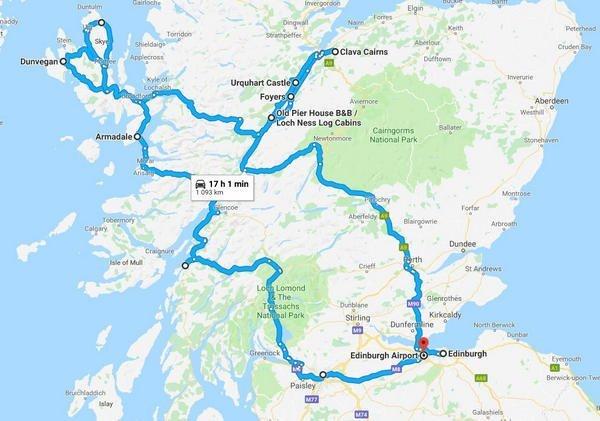 Google Map - Scotland 9 Day Itinerary