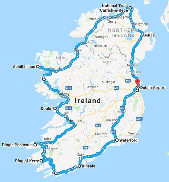 Ireland - Map - 12 Day Itinerary